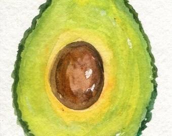 ACEO Avocado watercolor painting original, small kitchen art, original watercolor painting of avocado