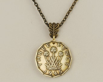 British Coin Necklace 1945 Three Pence