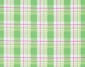 FAUX PLAID in GREEN ,white, red, /PWTW120 Zoey's Garden byTanya Whelan Fabric /- 1 Yard Cotton Quilting Fabric