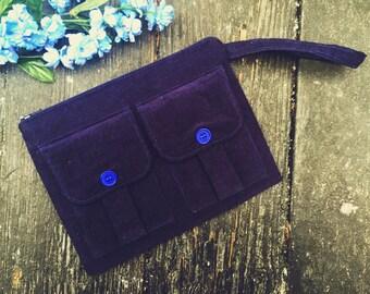 Corduroy Wristlet Wallet Navy Blue, Corduroy Wallet Wristlet, Blue Fabric Wallet, Navy Blue Zipper Wallet, Zipper Pouch, Dorothy Wristlet