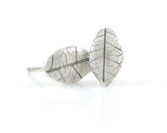 Leaf Imprint Post Earrings in Sterling Silver - Made to Order