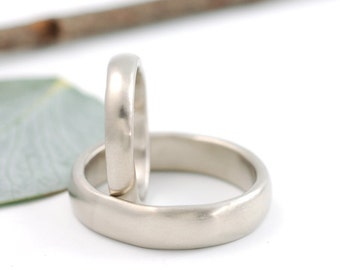 Simplicity Wedding Rings - 14k Palladium White Gold Wedding Band Set - 3mm and 5mm - made to order wedding rings in recycled metal