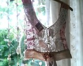 Antique Lace Top, Romantic, Fine Lace, Tattered, Recycled, Rustic, Bohemian, Pretty Top, Delicate, Patched