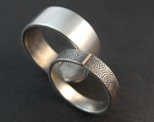RESERVED Listing - Spiral Swirl Pattern Wedding Band in Sterling Silver with 14k White Gold Tab