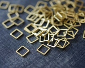 NEW Perfect Squares 8mm (Thicker) - Raw Brass - 36pcs - Square Connectors, Brass Squares, Square Links