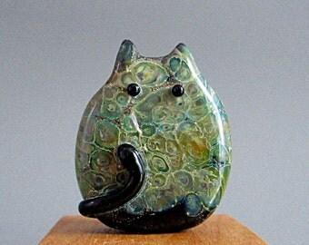 Handmade Cat Bead Lampwork Focal by teribeads - Leland FatCat