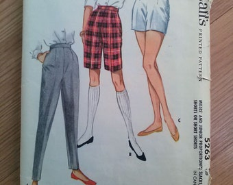 Vintage 1950s Pattern Cigarette Pants Walking Bermuda Shorts Short Shorts McCalls 5263 Sewing Pattern 2015461