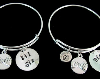 Bracelets For Sisters,Big little sister bracelet set,sister's jewelry big sister little sister bangle set,sisters jewelry Free Shipping USA