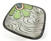 Square Pasta Bowl with Green Flower and Water