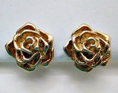 Clip On Earrings - Vintage Avon Sculptured Rose Clip Earrings  - Rose Flower Earrings Jewelry Gift