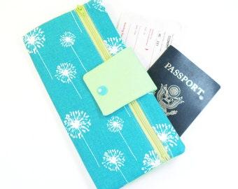 Travel Wallet / Travel Passport Holder / Passport Wallet / Passport Case / Passport Cover - Teal Dandelion