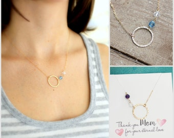 Mother's Necklace, Mom Necklace, Mother of the Bride Gift, Gold Eternity Necklace with Two Birthstones, Two Children, Circle Pendant, Karma