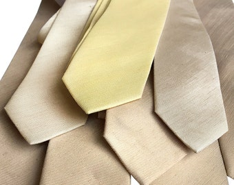 Linen Wedding Neckties. Set of 5 solid color ties. Groomsmen 10% discount. Silk & linen blend, select all the same or coordinating colors!