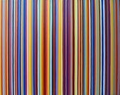 Orange and Blue Stripe Multicolor Art On Canvas ORIGINAL Large Color Field Painting 24x18 Modern Artwork Striped Wall Decor