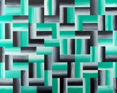 Aqua Green And Black Decor Abstract Artwork Original Painting 24x18 Contemporary Wall Art