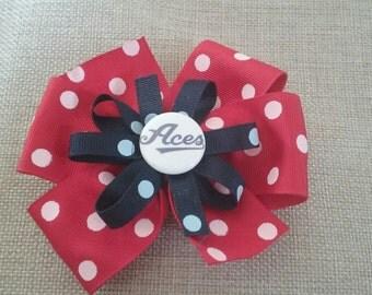 Reno Aces Baseball Stacked Ribbon Hair Bow - Red Dot 2 (1017)