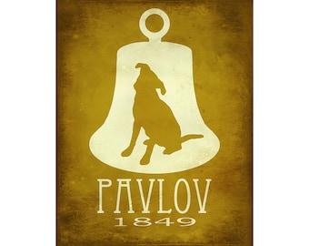 Pavlov's Dog Art Print 16x20 - Science Art Illustration, Steampunk Rock Star Scientist, Psychology Poster