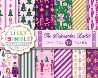 60% off Nutcracker Ballet digital scrapbook paper, Sugar Plum Fairy, Mouse King, Soldier, Christmas pack, Instant Download