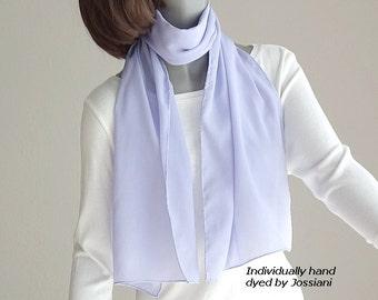 "Light Periwinkle Blue Neck Scarf Pale Lavender Blue Hand Dyed Silk Crepe, One of a Kind, Artisan Handmade, 12.5"" x 57"",  Artinsilk."