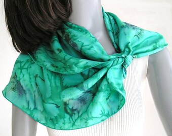 Small Square Scarf Emerald Silk Neck Scarf, Green Moss Gray, One of a Kind, Hand Painted, Hand Dyed Silk, Artisan Handmade, Jossiani