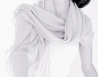 "Pale Gray Coverup, Silver Gray, Grey Sheer Wrap, Formal Sheer Wrap, Light Silver Gray, S or M  20x62"" or 20x72"", Artisan Handmade, Artinsilk"