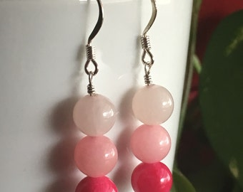 Pink Ombre Quartz Earrings