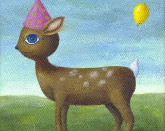 Deer Print, Whimsical Art, Deer Illustration, Birthday Art, Whimsical Print, Cute Deer Picture, Party Picture, Children's Decor, Nursery Art