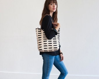 BAG SALE READY To Ship Hand Printed, Canvas Zipper Tote in Broken Lines, Anna Joyce