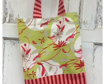 SALE- Floral Striped Tote Bag-Library Bag
