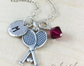 Sterling Silver Tennis Charm Necklace, Personalized With Initial Charm And Birthstone, Tennis Team Gift, Tennis Player Necklace
