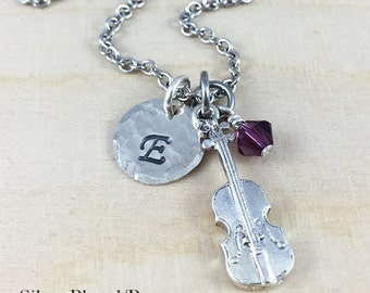 Personalized Violin Charm Necklace, Hand Stamped Initial Jewelry, Birthstone Necklace, Violin Player Gift, Personalized Violin Gift