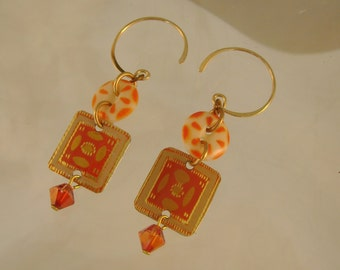 Orange Crush - Vintage Orange Tins Stencil Buttons Swarovski Crystals Recycled Repurposed Jewelry Earrings - Ten Year Anniversary Gift