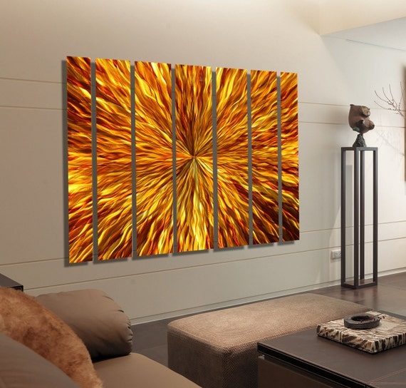 Extra large multi panel modern metal wall art amber gold for Extra large wall art