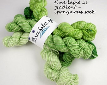 time lapse as gradient - eponymous, fingering weight yarn (5, 20g mini skeins)