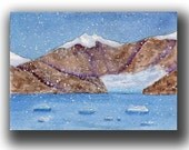 Alaska Glacier Original watercolor ACEO