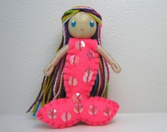 Mermaid Bendy Doll by Princess Nimble-Thimble, felt doll, bendable doll, waldorf bendy doll, small Mermaid doll, Under the Sea party favor