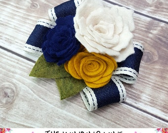 Navy Blue/White/Yellow Felt Flower and Ribbon Bow Clip/Barrette - Hair Accessory for Child, Teen, Adult