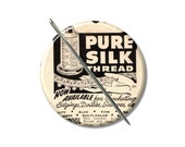 Pure Silk Thread vintage Ad needle minder magnet cross stitching cross stitch keeper sewing notion wife gift stocking stuffer Pattern holder