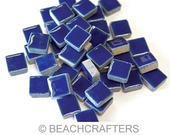 50 - 3/8 inch Royal Blue Ceramic Mosaic Tiles