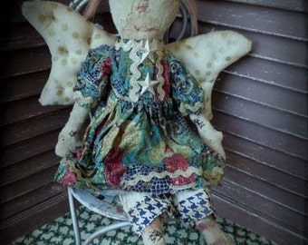 VERY Primitive, Primitive, Folk Art, Raggedy Ann, Angel, Gold, Candle, Hafair, TeamHaHa, Doll by Mustard Seed Originals