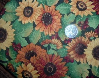 Quilt Fabric Destash Bold Daisies Green Leaves by the Half Yard