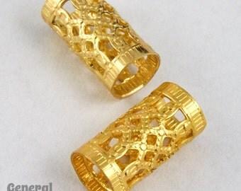 10mm Gold Filigree Tube Bead #MBC061