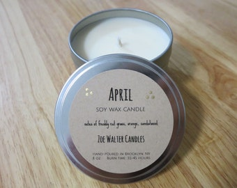April Hand-Poured Soy Wax Candle