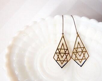 brass filigree geometric dangles with deep teal enamel detail- modern boho