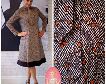 Vintage 1960's Designer Ein Fink Modell Madmen Winter Brown Wiggle Dress Size Medium (198)