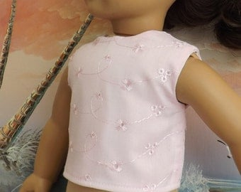 18 InchDoll Clothes Light Pink Cotton Eyelet Modified Crop Top NEW Style