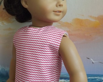 American Girl Doll Clothes Coral and White Wavy Chevron Modified Crop Top NEW Style