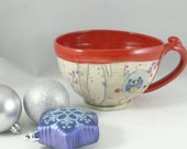 Handmade Ceramic Cappucino Cup / Pottery Soup Mug - oversized mug Cereal bowl with handle holds 24 ounces / latte cup SM234