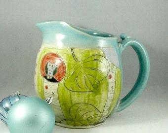 Large Ceramic Pitcher / Milk Jug / Iced Tea Ewer, Pouring Vessel, artistic kitchen home decor
