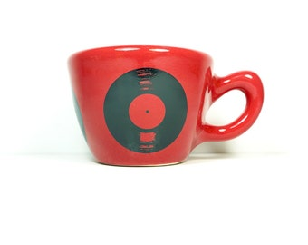 12oz cup shown in Berry Red glaze, featuring an LP Record print. Made to Order/ Pick Your Colour